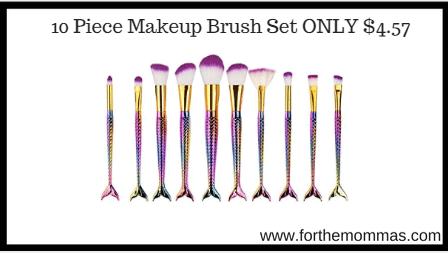 10 Piece Makeup Brush Set ONLY $4.57