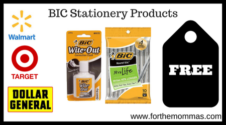 Walmart Target Dollar General FREE BIC Stationery Products