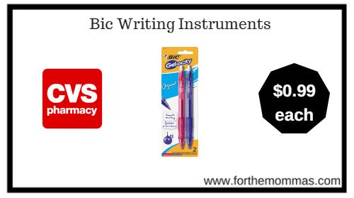 CVS: Bic Writing Instruments ONLY $0.99 Each Thru 1/13!