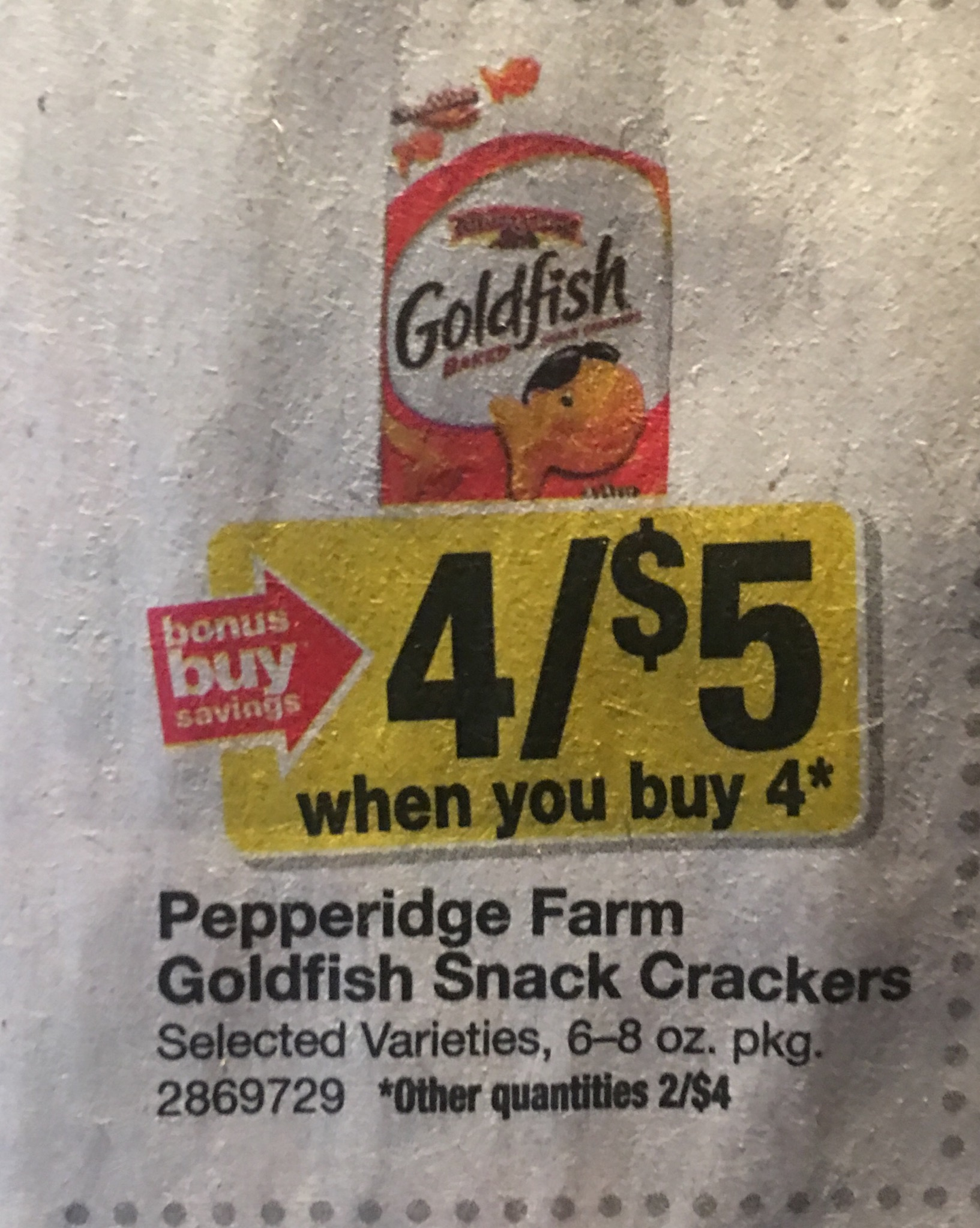 photograph about Goldfish Printable Coupons referred to as Large: Pepperidge Farm Goldfish Crackers Exactly $1.25 Every