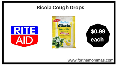 Rite Aid: Ricola Cough Drops ONLY $0.99 Each Thru 1/13!