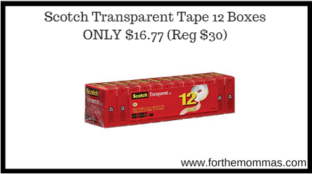 Amazon: Scotch Transparent Tape, 12 Boxes ONLY $16.77 (Reg $30)