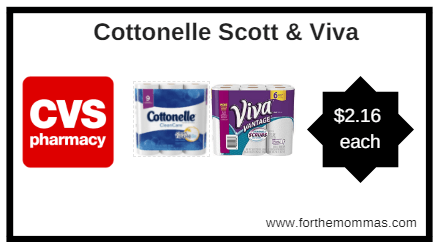 CVS: Cottonelle, Scott, & Viva Paper Products as low as $2.16 each starting 2/18