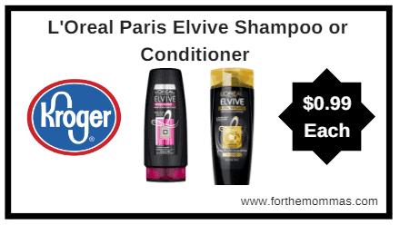 Kroger MEGA Sale: L'Oreal Paris Elvive Shampoo or Conditioner ONLY $0.99