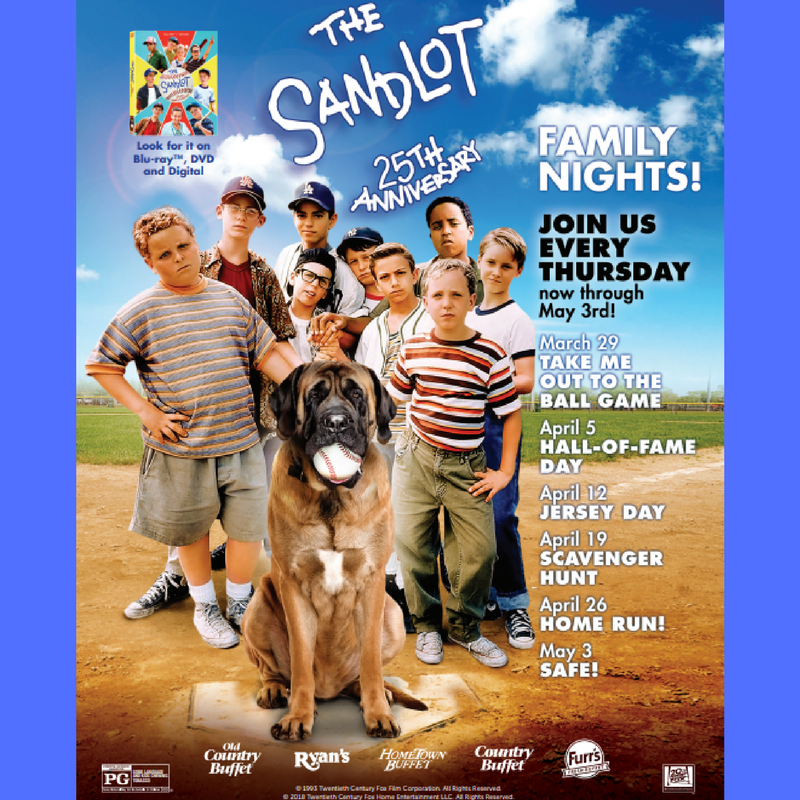 Ovation Brands Family Night – Enter to Win Meal Passes and Sandlot Blu-Ray