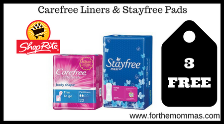 Carefree Liners &Stayfree Pads