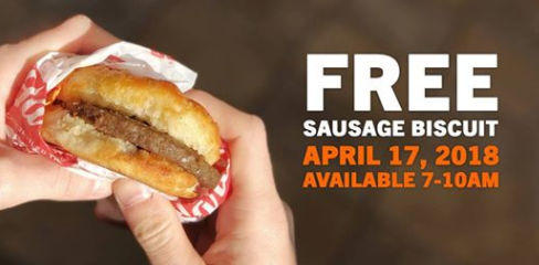 Free Sausage Biscuit at Hardee's