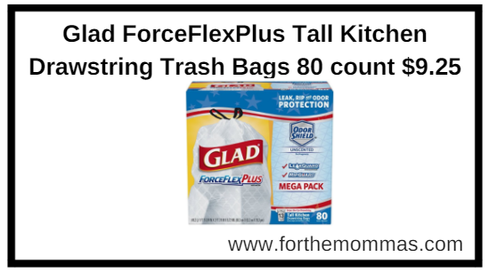 Amazon.com: Glad ForceFlexPlus Tall Kitchen Drawstring Trash Bags 80 count $9.25