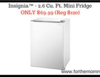 Insignia™ – 2.6 Cu. Ft. Mini Fridge ONLY $69.99 (Reg $120)