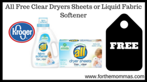 All Free Clear Dryers Sheets or Liquid Fabric Softener