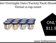 Quaker Overnight Oats (Variety Pack) Breakfast Cereal 12 cup count