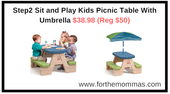 Amazon.com: Step2 Sit and Play Kids Picnic Table With Umbrella $38.98 (Reg $50)