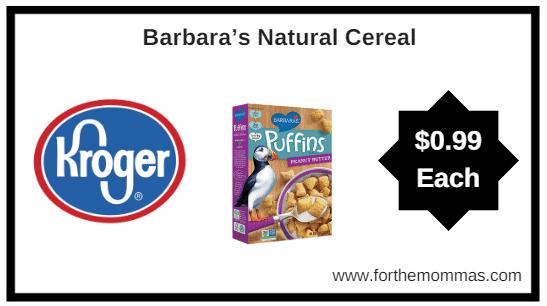 Kroger: Barbara's Natural Cereal ONLY $0.99 (MEGA)
