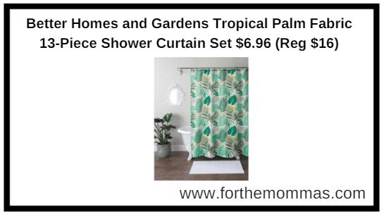 Better Homes And Gardens Tropical Palm Fabric 13 Piece Shower Curtain Set  $6.96 (Reg $16)
