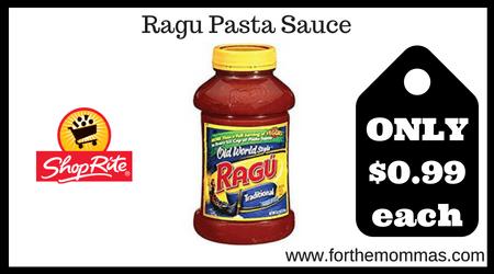 ShopRite: Ragu Pasta Sauce Just $0.99 Each Thru 7/20!