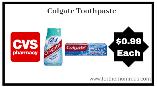 CVS: Colgate Toothpaste ONLY $0.99 Starting 10/14