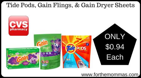 Tide Pods, Gain Flings, & Gain Dryer Sheets