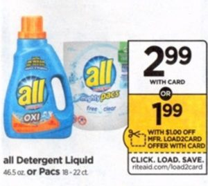 Rite Aid: All Laundry Detergent ONLY $1.99 Starting 8/26
