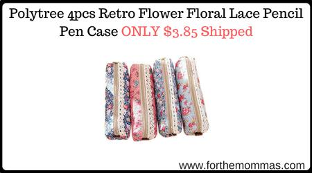 Polytree 4pcs Retro Flower Floral Lace Pencil Pen Case