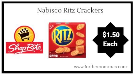 ShopRite: Nabisco Ritz Crackers ONLY $1.50 Each Thru 9/22!