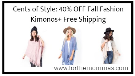 Cents of Style: 40% OFF Fall Fashion Kimonos+ Free Shipping