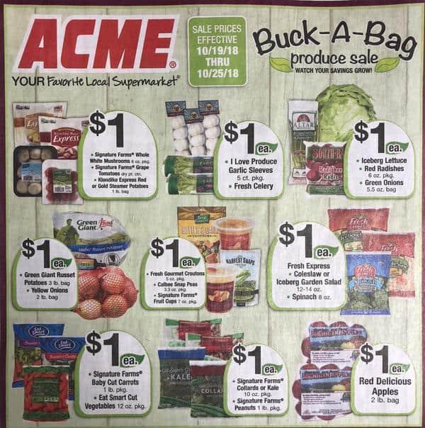 Acme: Buck-A-Bag Produce Sale Thru 10/25!