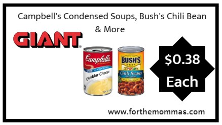 Giant: Campbell's Condensed Soups, Bush's Chili Bean & More ONLY $0.38 Each Starting 10/12!