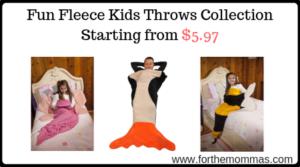 Fun Fleece Kids Throws Collection
