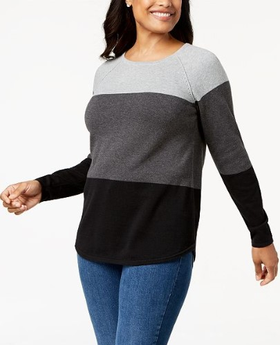 Macys Karen Scott Colorblocked Cotton Sweater Only 999 Reg