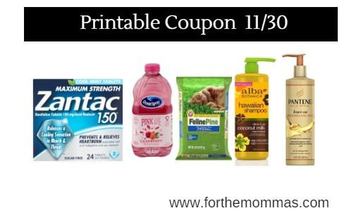 graphic relating to Zantac Printable Coupon known as Printable Coupon Roundup 11/30: Help save Upon Zantac, Pantene, Arm