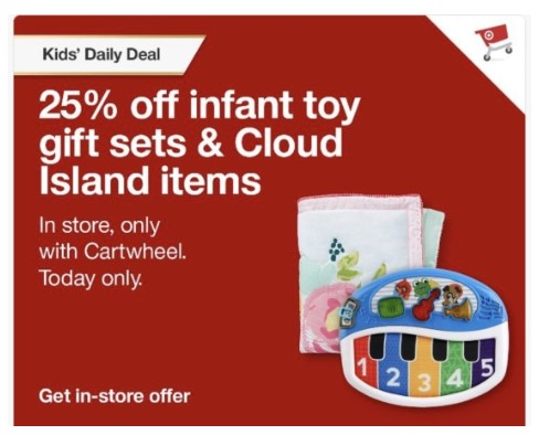 Save 25% Off Infant Toy Gift Sets & Cloud Island Items at Target