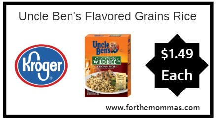 Kroger: Uncle Ben's Flavored Grains Rice ONLY $1.49