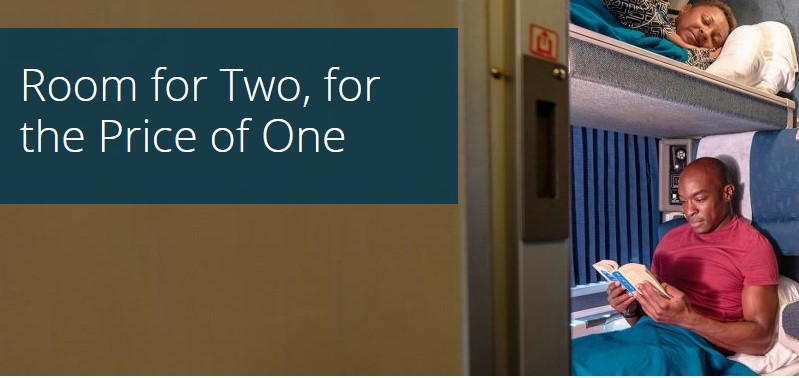 Amtrak Roomette Sale for Select Routes B1G1 Free (Travel Jan 7 - May 23)