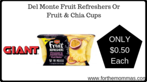 Del Monte Fruit Refreshers Or Fruit & Chia Cups