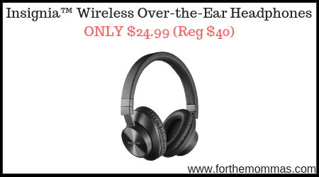 Insignia™ Wireless Over-the-Ear Headphones ONLY $24.99 (Reg $40)