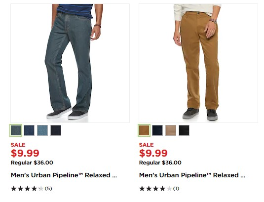 Kohl's: Men's Urban Pipeline Jeans and Pants $7.49