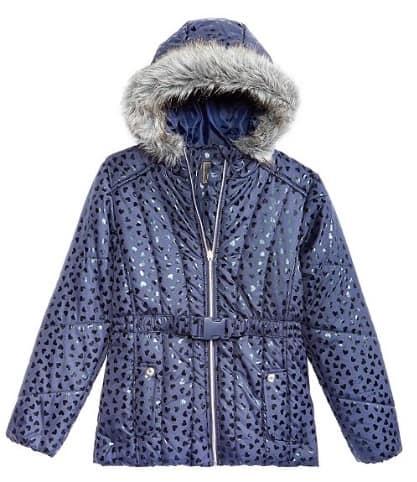 Big Girls Hooded Metallic-Print Puffer Jacket 4 colors $20.99