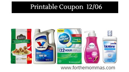 Newest Printable Coupons 12/6: Save On Cooked Perfect, Valvoline, Veet & More