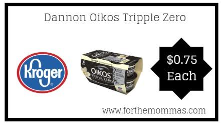 Kroger: Dannon Oikos Tripple Zero 4 ct ONLY $0.75 {Reg $3.79}