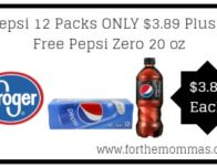 Kroger: Pepsi 12 Packs ONLY $3.89 Plus 3 Free Pepsi Zero 20 oz