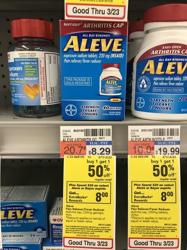 CVS: Aleve Gelcaps 40 Count ONLY $0.22 Each Thru 3/23