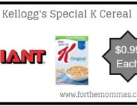Giant: Kellogg's Special K Cereal ONLY $0.99 Each Starting 4/5!