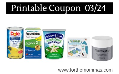 photo regarding Neutrogena Printable Coupons called Most recent Printable Discount codes 03/24: Preserve Upon Dole, Flonase