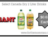 Select Canada Dry 2 Liter Drinks ONLY $0.63 Each Starting 5/24!