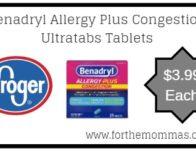 Kroger: Benadryl Allergy Plus Congestion Ultratabs Tablets ONLY $3.99 {Reg $5.49}