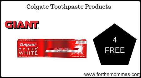 Giant: 4 FREE Colgate Toothpaste Products + Moneymaker