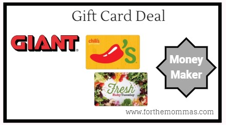 Giant: Gift Card Moneymaker Deals Starting 5/3! {4X Points}