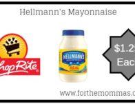 ShopRite: Hellmann's Mayonnaise Just $1.25 Each Thru 4/20!