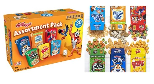 Kellogg's Breakfast Cereal, Assortment Pack (30 Count) $6.99