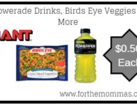 Giant: Powerade Drinks, Birds Eye Veggies & More JUST $0.50 Each Starting 4/26!